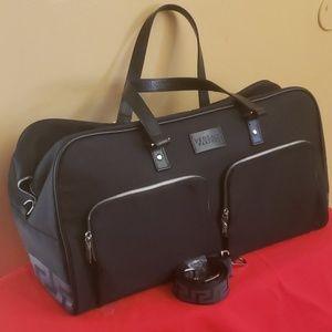 Versace Parfums black duffle bag